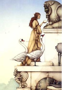 The Riddle by Michael Parkes ~ Another of my favorite paintings.